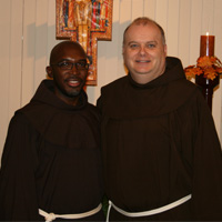 Br. Abraham Joseph, OFM, at left, shares a moment with novitiate team member Fr. Scott Brookbank, OFM.