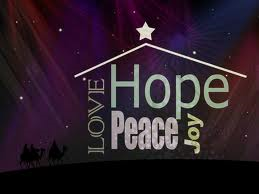 Love, Hope, Joy and Peace - With Outline of Manger