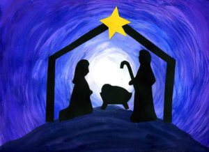 Outline of Nativity Scene with Pretty Blue Background and Bright Star