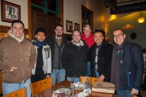Pictured, from left to right: Deivis, Aaron, Daniel, vocation director Fr. Brian Smail, OFM, Christian, Javier and Fr. Stephen Mimnaugh, OFM, parochial vicar, during a visit to St. Francis of Assisi Church in West Manhattan.
