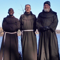 Br. Abraham Joseph, OFM, far left, enjoys the beauty of Burlington, Wis., with two other friars at the Franciscan Interprovincial Novitiate.